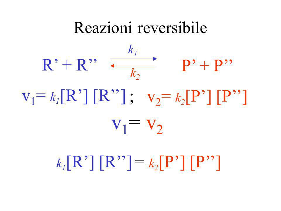 v1= v2 R' + R'' P' + P'' v1= k1[R'] [R''] ; v2= k2[P'] [P'']